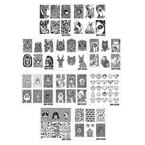 Bundle Monster 10pc Nail Art Manicure Stamping Plates-Fuzzy and Ferocious, Set 1 #BundleMonster