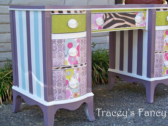 Furniture, Office desk, Tracey's Fancy, custom painted, tbellion, Brown White Stripes, Gold Embellishments, Vintage table, Shabby Chic, women, lady vanity, funky zebra, decoupage