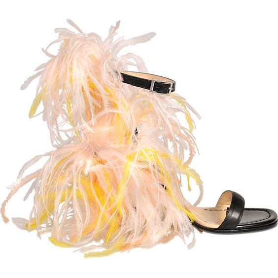 Emilio Pucci Feather sandal ($1,205) ❤ liked on Polyvore featuring shoes, sandals, multicoloured, multi color sandals, ankle wrap sandals, ankle tie sandals, multi colored sandals and leather shoes
