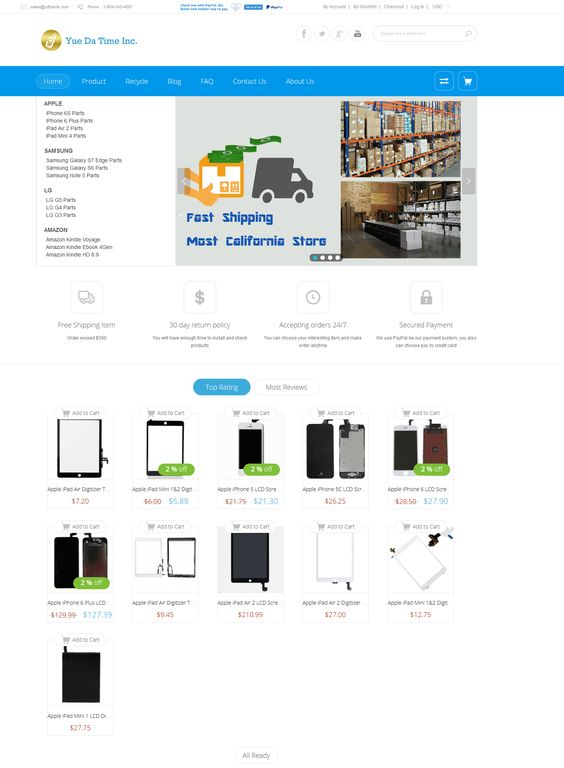 Purchase over $ 300 high-quality mobile phone parts, enjoy a 5% discount high! Buy mobile phone parts users can not miss! Discount code: 5off (checkout use) # http://ydtparts.com/