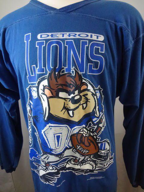 Vintage 1995 Detroit Lions NFL Looney Tunes Taz Mens Large Long Sleeved Shirt #ProSpirit #Henley
