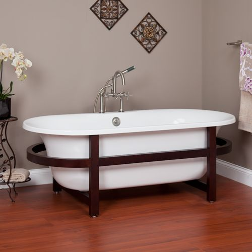 """68"""" Poynter Acrylic Double Ended Tub on Oval Wood Stand"""