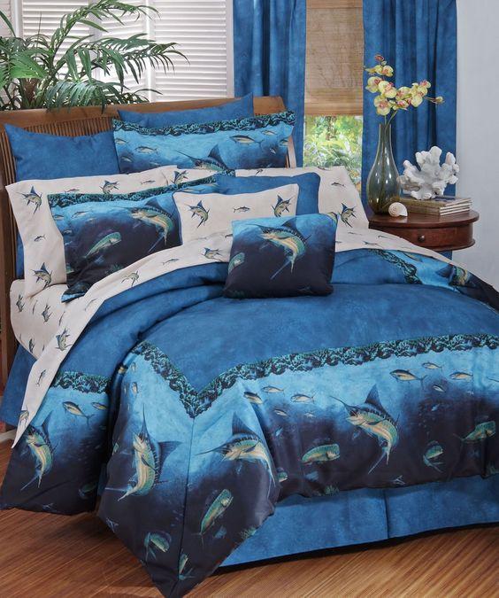 Coral reef fish bedding 11 pc queen comforter set ocean for Fishing bedroom decor