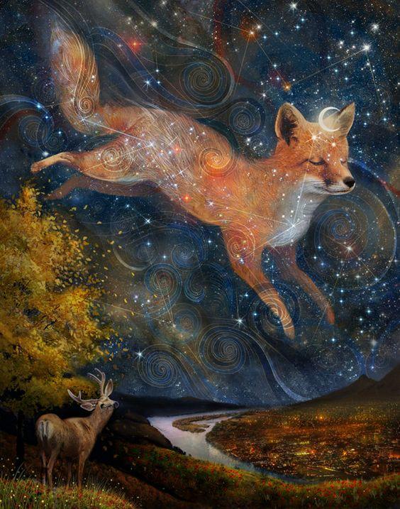 Fox in the Stars - 11X14 print | starlight fox, woodland wall art, fox spirit animal, witch pagan art, constellation fox  | by Meluseena
