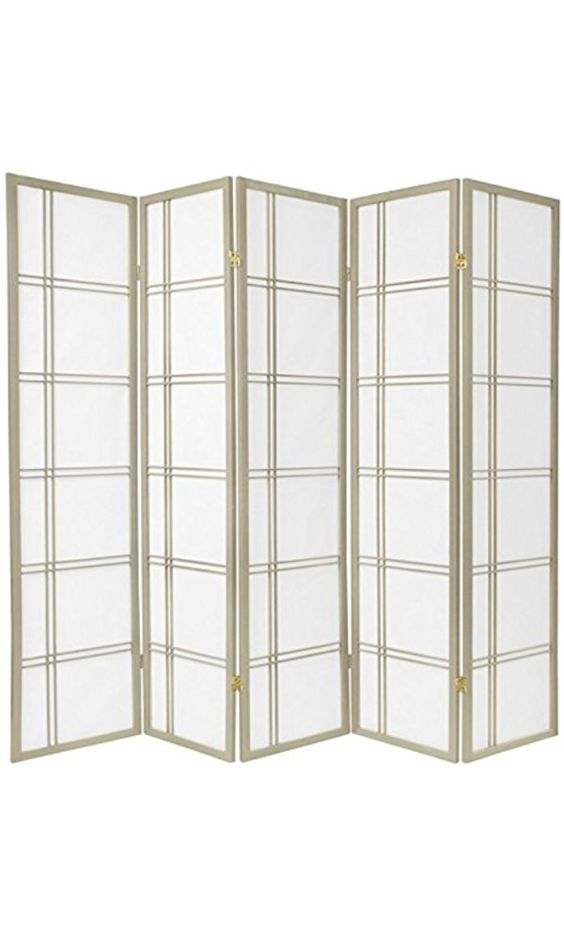 Oriental Furniture 6 ft. Tall Double Cross Shoji Screen - Special Edition - Grey - 5 Panels Best Price