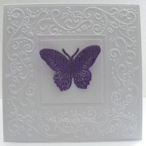 Darice Border Embossing Folders. White frame and butterfly. Cheap diy art