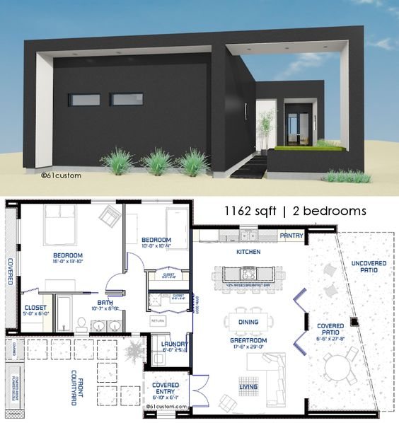 1162 small modern house plan front courtyard small modern house plans and mirror image - Small modern house plans ...