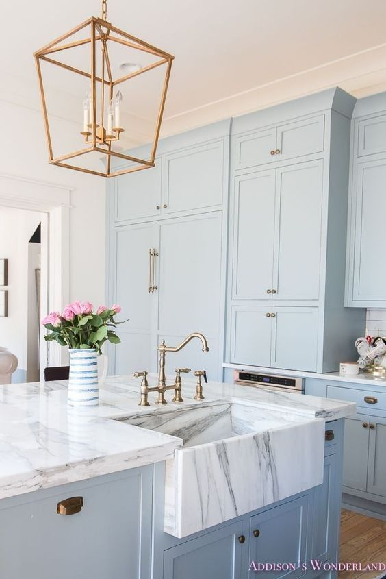 Light Blue Cabinets Instead Of All White Home Blue Kitchen Cabinets Blue Kitchens