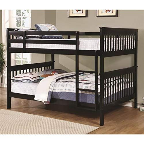 Bowery Hill Full Over Full Bunk Bed In Black Heavy Duty 400lbs