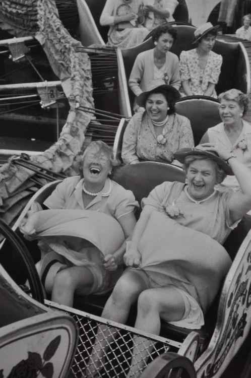 """Grace Robertson - On the Caterpillar: """"The delight, abandon, and terror of these ladies as they rumble down a rollercoaster in Clapham in England's grim post-war years throbs with life."""""""
