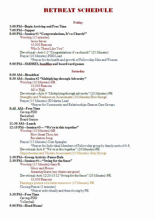 Retreat Schedule Template Best Of 2012 All Church Prayer And