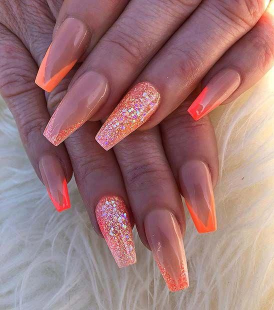 Coffin Orange Glitter Acrylics