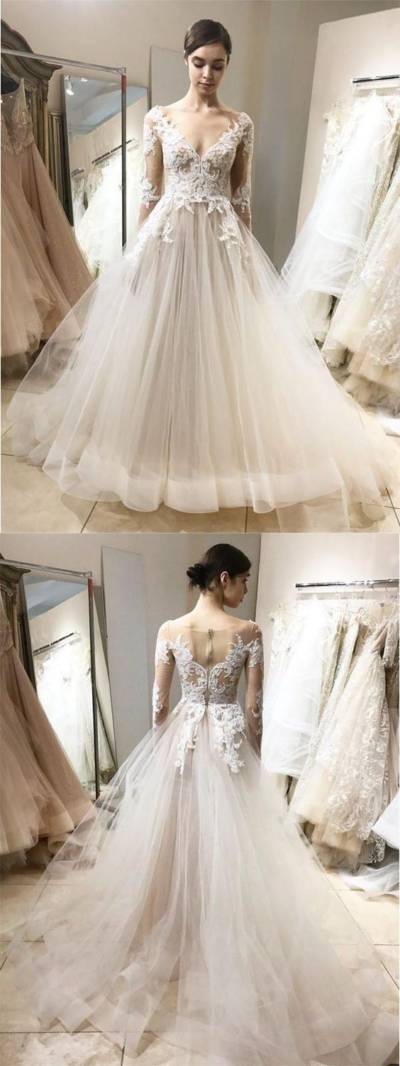 Elegant Ball Gown V Neck Long Sleeves Ivory Lace Long Wedding Dresses Beautiful Lace Wedding Dress Vintage Long Wedding Dresses Ball Dresses [ 1502 x 564 Pixel ]