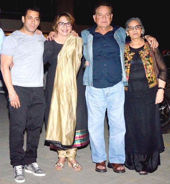 The Khan's Khandan: Salman Khan, Helen, Salim Khan and Salma at Salma's birthday bash. #Bollywood #Fashion #Style #Beauty #Handsome