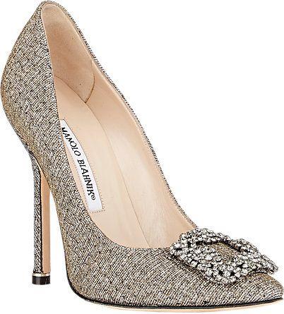 manolo blahnik gold shoes