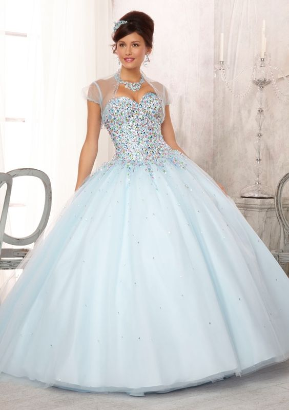 Quinceanera Dress From Vizcaya By Mori Lee Style 88084 Multi-Colored Jewel Beaded Bodice on a Tulle Ball Gown Skirt