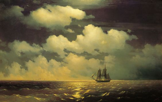 Ivan Aivazovsky - Meeting of the brig mercury with the russian squadron after the defeat of two turkish, 1848