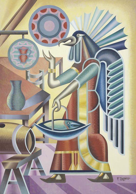 Fortunato Depero (Italian, 1892-1960), Fantasia indiana, 1950s. Tempera on paper, 100.5 x 71.4 cm.
