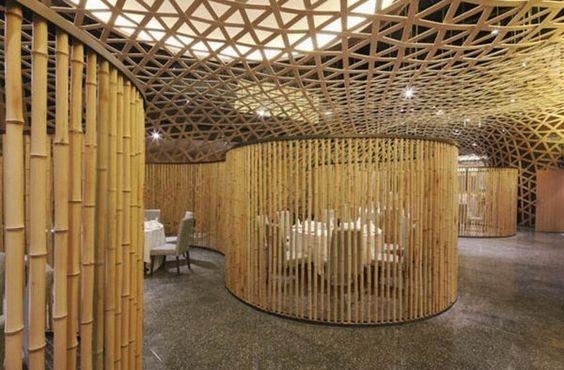 canisses bambou, une vue du palais de Tang                              …