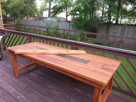 Wood dining patio table with built in cooler by BGWoodworks $275 00