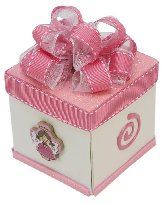 Invitaci n bautizo blanco rosa caja de cart n corrugado - Cajas decoradas para bebes ...