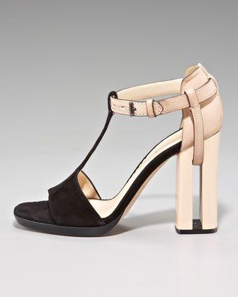 Reed Krakoff Slotted-Heel T-Strap Sandal - Neiman Marcus