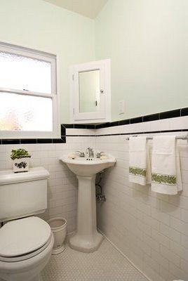 Black tiles cabinets and white subway tiles on pinterest for 1930 bathroom tile ideas