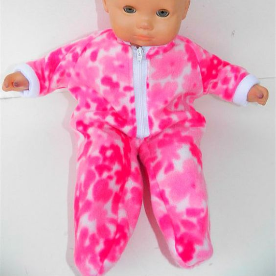 Bitty Baby Clothes Pajamas pink White Rose Floral Print Polar Fleece Zip Up Feetie Pjs Sleeper Winterl on Etsy, $10.95