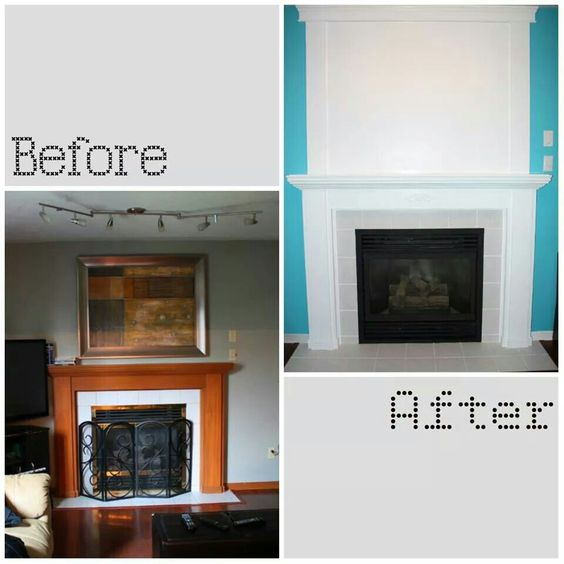 Diy Fireplace Makeover Painted Trim Painted Grout Spray Painted Brass Accents Black With High
