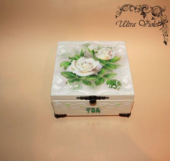 Exklusive Teebox Tee Tea Teebeutel Teekiste  wood von UltroViolet, €25.00