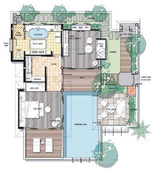 Villas pools and floor plans on pinterest for Villa design floor plan