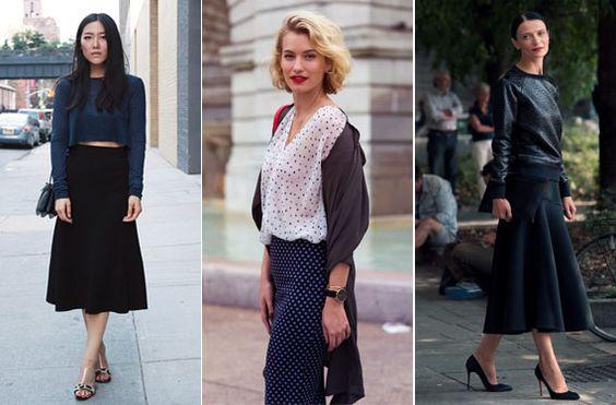 Las faldas por debajo de la rodilla están de moda. Te mostramos como llevar esta complicada tendencia de temporada.