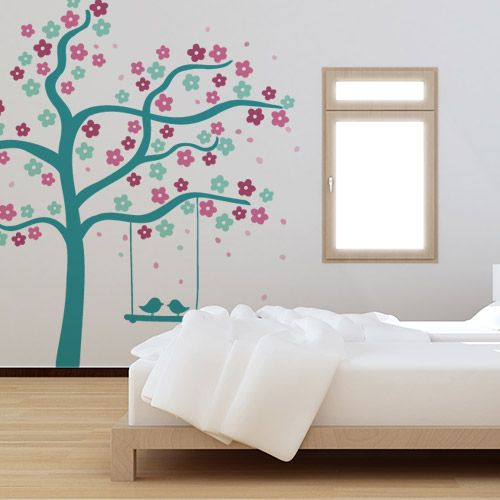 Vinilo decorativo con tonos turquesa arbol con pajaritos for Vinilos decorativos pared habitacion
