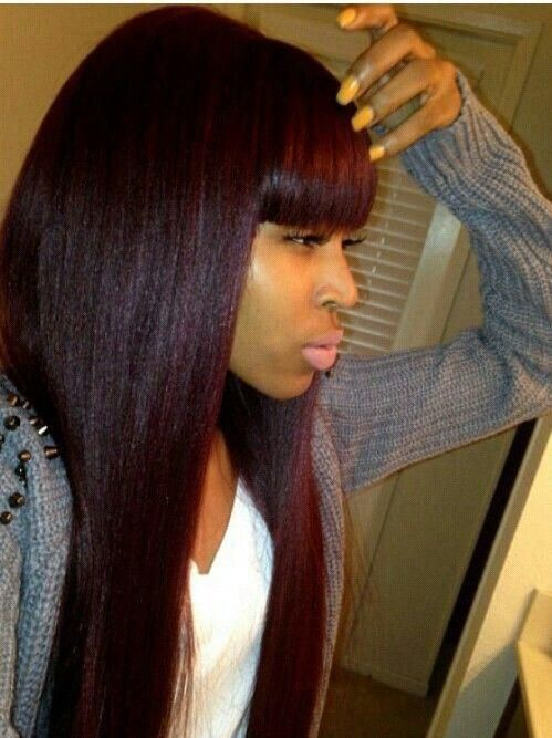 Tremendous Colors Bangs And Long Weave Hairstyles On Pinterest Short Hairstyles For Black Women Fulllsitofus