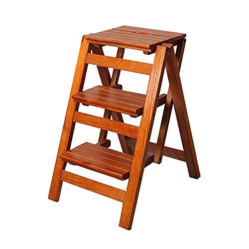 Folding Step Stool 3 Tier Wood Ladder Portable Step Ladder Ladder