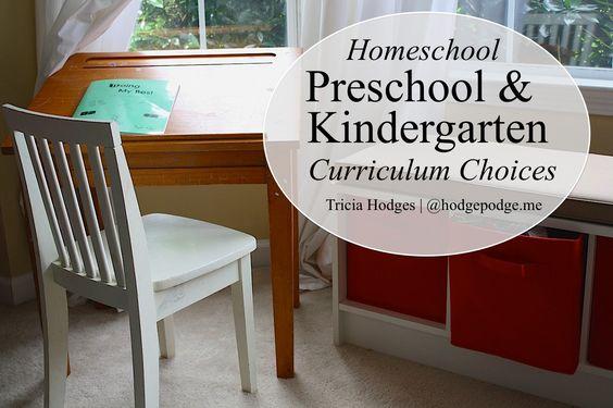 Preschool and Kindergarten Homeschool Curriculum Choices www.hodgepodge.me