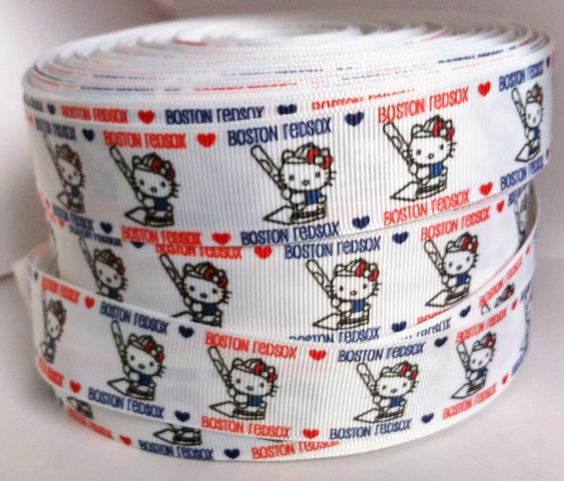5 Yards Boston Red Sox 1 inch White Background by RibbonsForLess