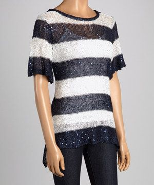 Another great find on #zulily! Design 26 Navy & White Sparkle Stripe Sidetail Pullover by Design 26 #zulilyfinds