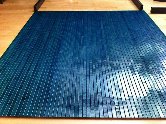 TAHOE BLUE Bamboo Chair Mat Office Floor Mat Hard Wood Floor Protector Desk C