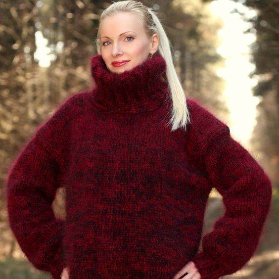 Hand knitted mohair sweater in red black melange, size S, M, L, XL