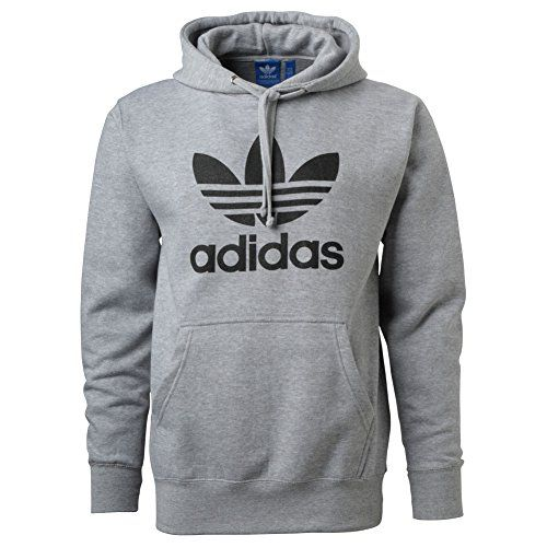 Adidas Mens Originals Trefoil Logo Hoodie Medium Grey | Style ...