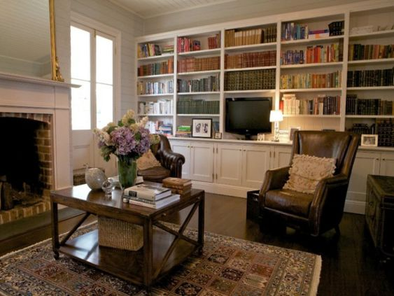 Wall of bookshelves, television included