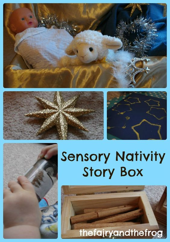 Sensory nativity story box. Sensory ideas to explore the Christmas story The fairy and the frog.com