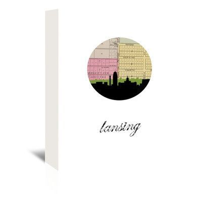 Americanflat PaperFinch Designs Lansing Map Skyline by Amy Braswell Graphic Art on Wrapped Canvas Size: