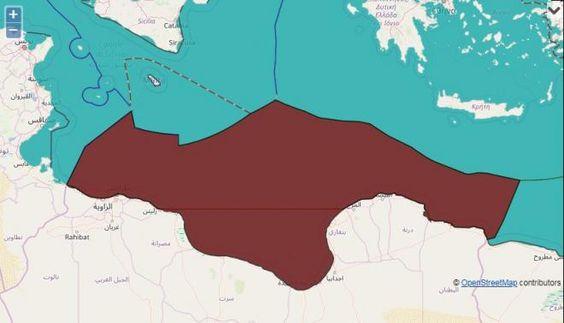 منطقة ليبيا الاقتصادية الخالصة مأخوذة من خرائط جوجل Map Diagram Story