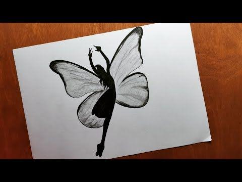 How To Draw A Girl As Butterfly Easy رسم فتاة فراشة رسم بالرصاص سهل رسوم تعبيرية للمبتدئين بالخطوات Amazing Art Painting Cool Art Drawings Art Drawings Simple