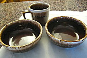 Vintage Kathy Kale brown drip  bowls and mug for sale at More Than McCoy on TIAS!