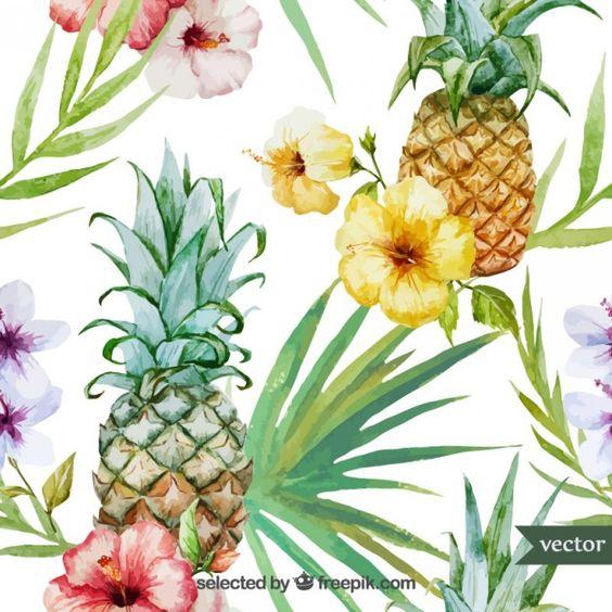 Acuarela frutas y plantas tropicales