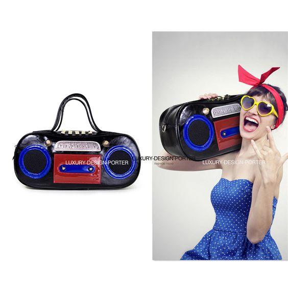 Designer 3D Vintage Radio style Leatherette Shoulder Bag Purse IT Party bag