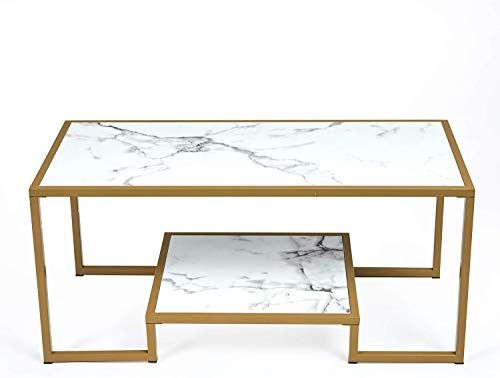 New Mcneil 40 Marble Look 2 Tier Coffee Table Tea Snack Cocktail Sofa Side End Table Tv Stand Gold White Carrara Online Shopping Perfectfurniture Nesting End Tables Coffee Table End Tables